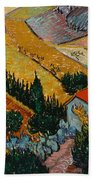 Landscape With House And Ploughman Hand Towel