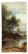 Landscape With Stream And Decorative Figures Bath Towel