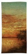 Landscape With Trees At The Rivers Bath Towel