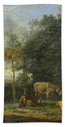 Landscape With Two Donkeys, Goats And Pigs Bath Towel
