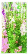 Larkspur Flowers In Soft Oil Style Bath Towel