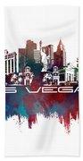 Las Vegas Skyline City Blue Bath Towel
