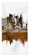 Las Vegas Skyline City Brown Bath Towel
