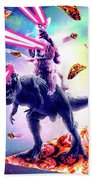 Laser Eyes Space Cat Riding Dog And Dinosaur Hand Towel