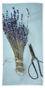 Lavender And Antique Scissors Bath Towel