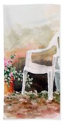 Lawn Chair With Flowers Bath Towel