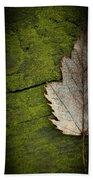 Leaf On Green Wood Bath Towel