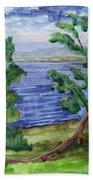 Leaning Tree By Lake Sacandaga Bath Towel