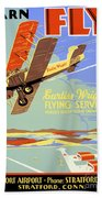Learn To Fly Vintage Poster Restored Bath Towel