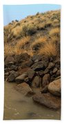 Learn To Swim, Creek Bed Quickly Filling With Water During Autumn Rainstorms In The High Desert Bath Towel