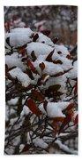 Leaves And Powery Snow Bath Towel