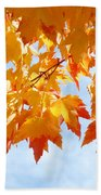 Leaves Nature Art Orange Autumn Tree Leaves Bath Towel