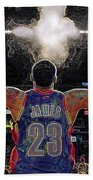 Lebron James Chalk Toss Basketball Art Landscape Painting Bath Towel