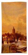 Leickert Charles Henri Joseph Winter And Summer Canal Scenes Scene  Bath Towel