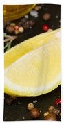 Lemon With Spices  Bath Towel