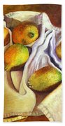 Lemons And Linen Bath Towel