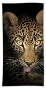 Leopard In The Dark Hand Towel by Johan Swanepoel
