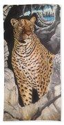 Leopard On The Rocks Bath Towel