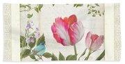 Les Magnifiques Fleurs I - Magnificent Garden Flowers Parrot Tulips N Indigo Bunting Songbird Bath Towel