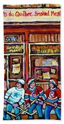 Les Scenes De Pointe St Charles Les Produits Smoked Meat Avec Partie De Hockey Bath Towel