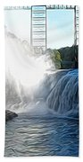 Letchworth State Park Upper Falls And Railroad Trestle Abstract Bath Towel