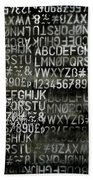 Letters And Numbers Grey On Black Bath Towel