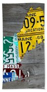 License Plate Map Of New England States Bath Towel