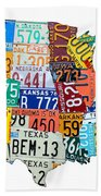 License Plate Map Of The United States Outlined Bath Towel