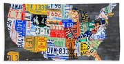 License Plate Map Of The Usa On Gray Distressed Wood Boards Bath Towel