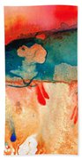 Life Eternal Red And Green Abstract Bath Towel
