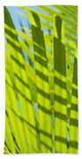 Light Green Palm Leaves Bath Towel