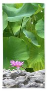 Light Purple Water Lily And Large Green Leaves Bath Towel
