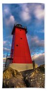 Lighthouse Manistique Sunset -5350 Bath Towel