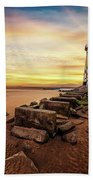 Lighthouse Sunset Wales Hand Towel