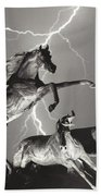 Lightning At Horse World Bath Towel