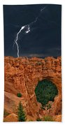 Lightning Over Natural Bridge Formation Bryce Canyon National Park Utah Bath Towel by Dave Welling