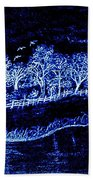 Lights On The Farm's Pond At Night Bath Towel