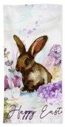 Lilac And Bunny Bath Towel