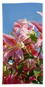 Lilies Pink Lily Flowers Art Prints Floral Summer Garden Baslee Troutman Bath Towel