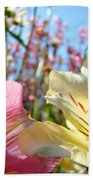 Lilies Pink Yellow Lily Flowers Canvas Art Prints Baslee Troutman Bath Towel