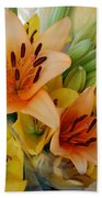 Lillies - Peach And Yellow Colors Bath Towel
