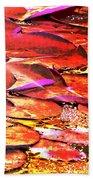Crimson Lilypads Floating.. Bath Towel