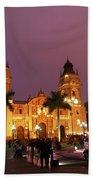 Lima Cathedral And Plaza De Armas At Night Bath Towel