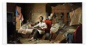 Lincoln Writing The Emancipation Proclamation Hand Towel
