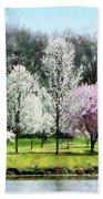 Line Of Flowering Trees Bath Towel