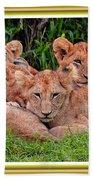 Lion Cubs. L A With Decorative Ornate Printed Frame. Bath Towel