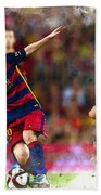 Lionel Messi  Fights For The Ball Bath Towel