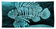 Lionfish On Blue Bath Towel