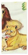 Lions Of The Tree Hand Towel