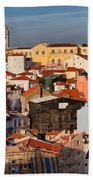 Lisbon Cityscape In Portugal At Sunset Bath Towel